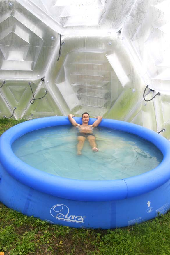 Pneumocell inflatable greenhouse with indoor pool for Swimming pool greenhouse